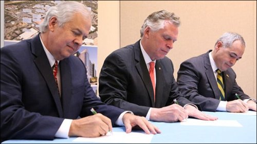 Inova CEO J. Knox Singleton (left) with Governor Terry McAuliffe and George Mason University President Angel Cabrera announcing Inova-GMU strategic partnership. Photo credit: The Connection.