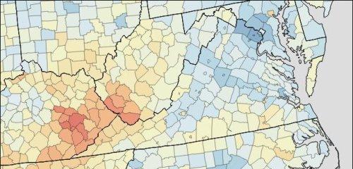 Virginia death map