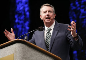 Ed Gillespie addresses the GOP convention in Roanoke.