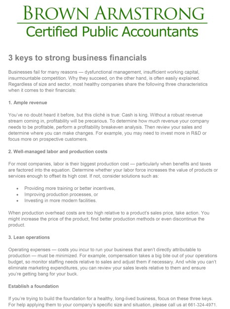 3 keys to strong business financials