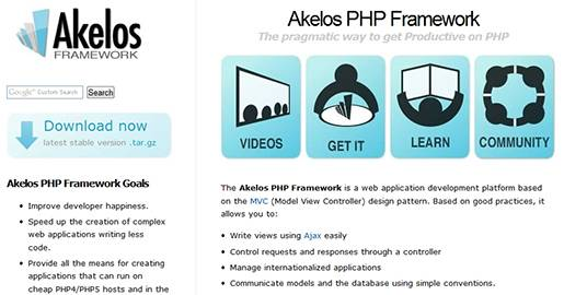 The Akelos Framework is the PHP version of the development platform Ruby on Rails. Like Rails, Akelos claims to increase the speed and ease with which you can develop Web applications.