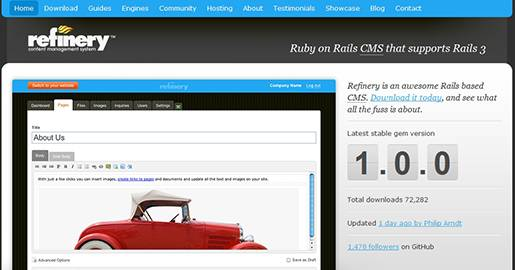 Refinery CMS is the most popular Ruby on Rails CMS and supports Rails 3. Refinery is perfect for creating custom content manageable Websites.