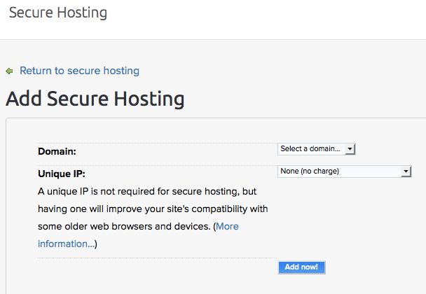 Choose domain name to add secure hosting