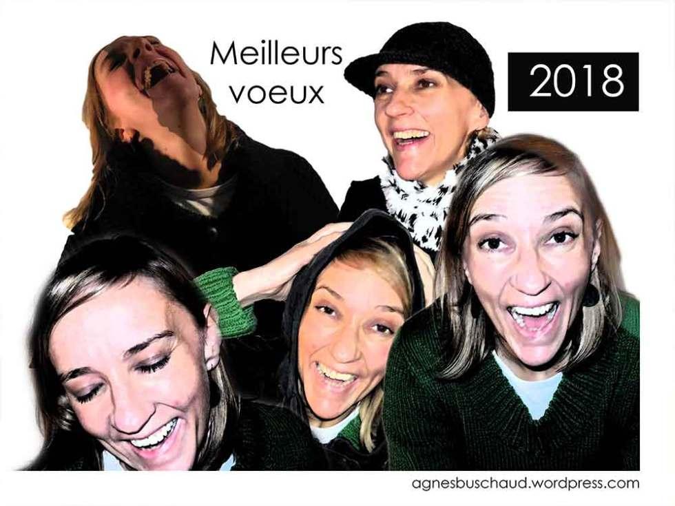 Composition de visages Happy pour la carte de vœux de B.A.D design français en 2018.