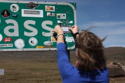 Marijn leaving her official mark on the Sani sign, courtesy of Resolution:Possible