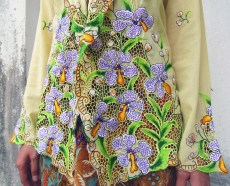 Close up Orchid Details on Yellow Kebaya