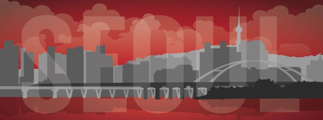 image of Seoul skyline in red and black