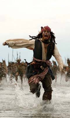 Johnny Depp as the Pirate, Capt. Jack Sparrow , running from  the enemy