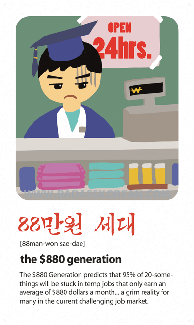 Pop Culture 88만원 세대[88man-won sae-dae] the $880 generation