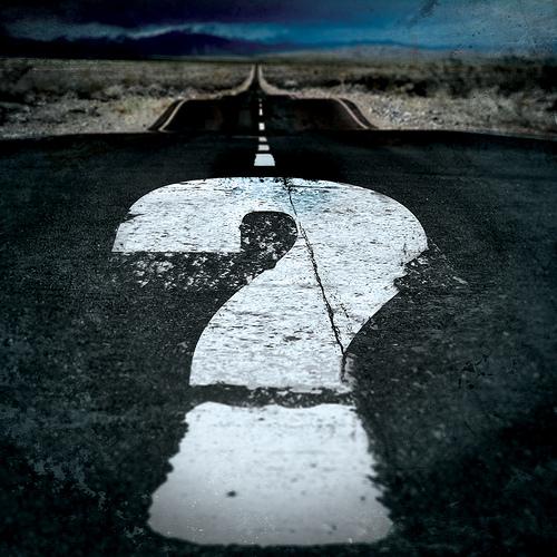 question mark on road: image via Flickr/ milos milosevic