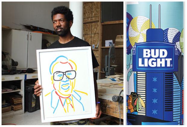 Brandon Breaux's artwork will be featured on limited-editionBud Lightaluminum bottles across Chicago.
