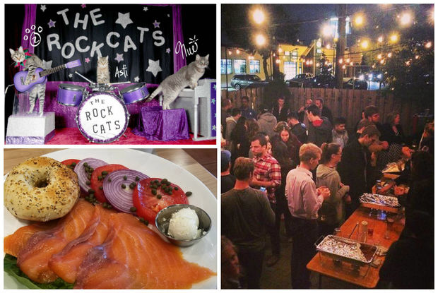 Cat circus (clockwise from top left) Bucktown Pub's chili cook-off and a salmon platter at the just-opened Yolk on Division Street.