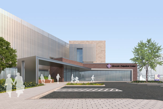 A rendering of the upcoming Advocate Outpatient Center at 3134 N. Clark St., the old Sports Authority spot.