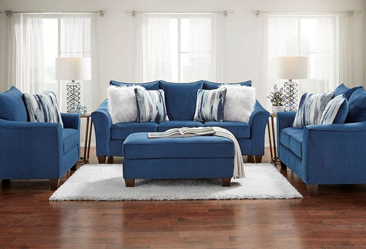 velour blue sofa loveseat