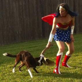 Sarah as Wonder Woman with Venture