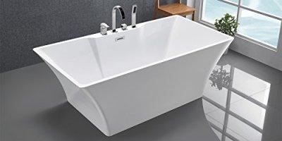Freistehende Badewanne mit Armatur weiß Modern ...