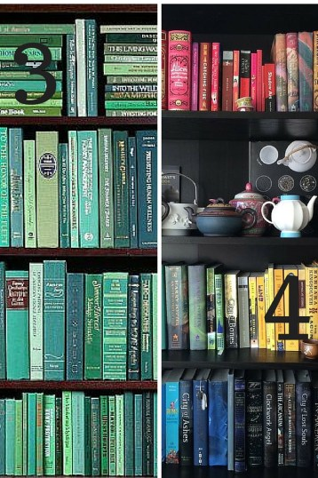 colourful bookcases