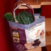 Tote with gingham facing.