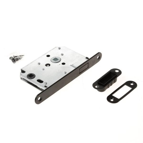 Intersteel magneet woningbouw badkamer/toilet slot 63/8mm met zwarte voorplaat 20X175 mm, inclusief sluitkom
