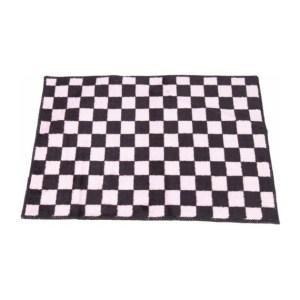 MB-Müller Premium Badmat met Dambord Patroon - 60x45cm - Zwart met Roze - 100% Polyester | Douchemat | Badkamer Mat