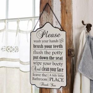 Decoratiebord Bathroom Rules
