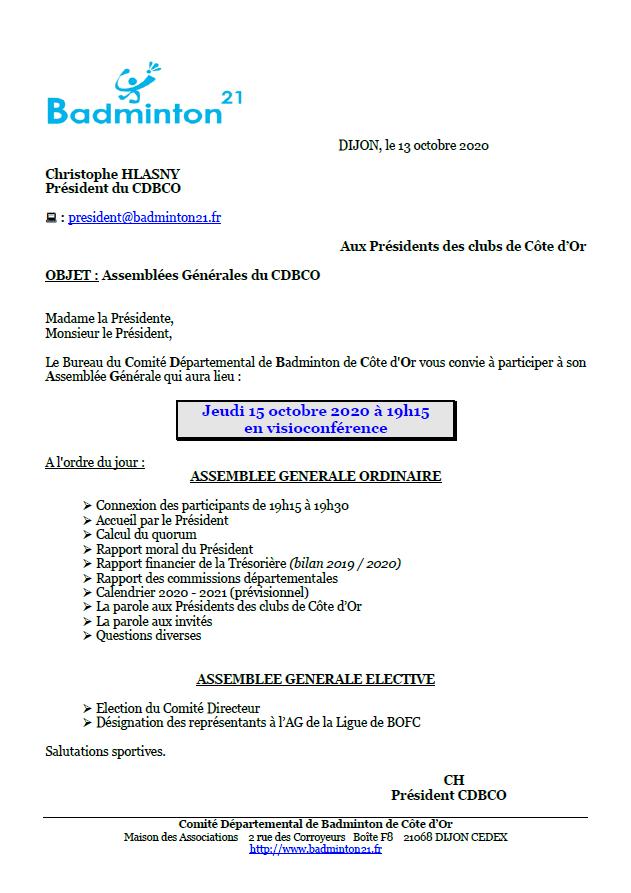Invitation à l'AG 2020