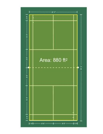 Badminton doubles court space.