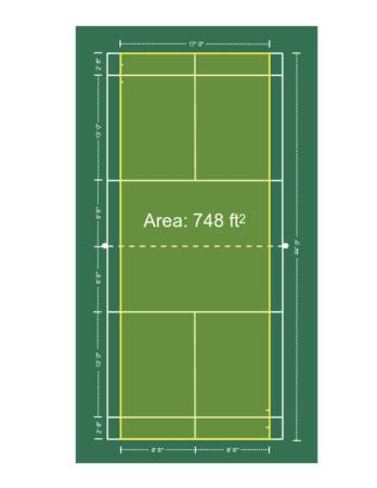 Badminton singles court space.