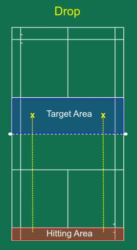 Drop hitting and target area