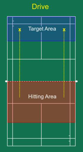 Drive hitting and target area