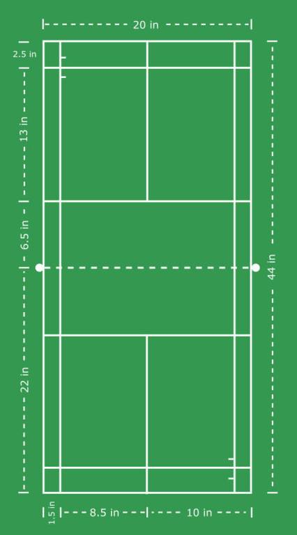 Badminton Court with Dimensions (Imperial)