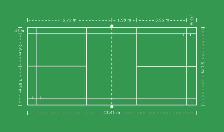 Badminton Court with Dimensions (Metric)