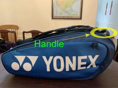Yonex Pro Racquet Bag (9 PCS). Bag handle.