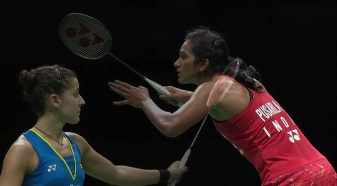 Sindhu Pusarla en Carolina Marin in finale dames enkel WK Badminton #TotalBWFWC2018 @Pvsindhu