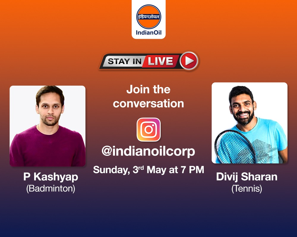 EW7ZFhdUcAE3dhO - Catch Tennis ace amp Badminton star in conversation in our next StayInLive session this Sunday, 3rd May at 7 PM on . You can leave your questions in the comments below. ProudToBeAnIOCian StayHomeStaySafe