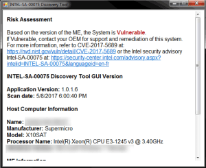 Intel AMT vulnerability detected!