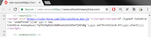 Coinhive found on Showtime's website