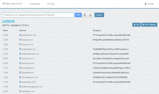 """PublicWWW search for """"coinhive.min.js"""" snipexp: