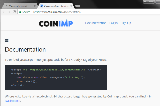 Screenshot captured of CoinImp's documentation page on 2017-12-20.