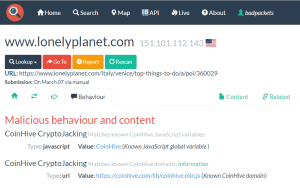 Coinhive was found on the website of LonelyPlanet.com