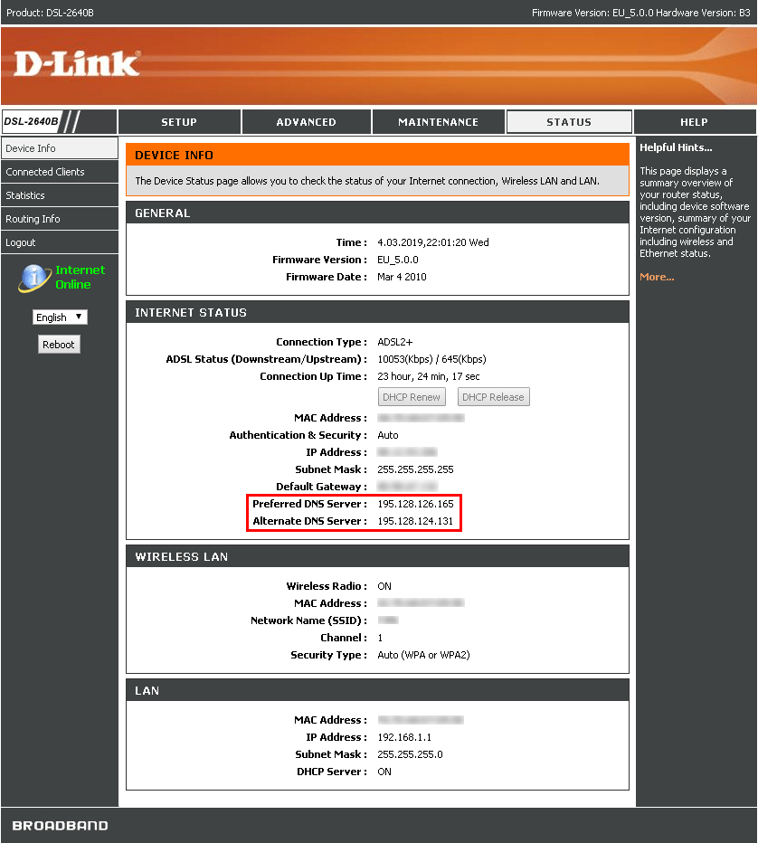 Compromised D-Link DSL-2640 router with DNS servers set to rouge DNS server.