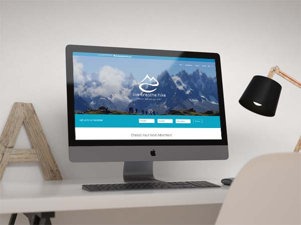 Live breathe hike web design mockup