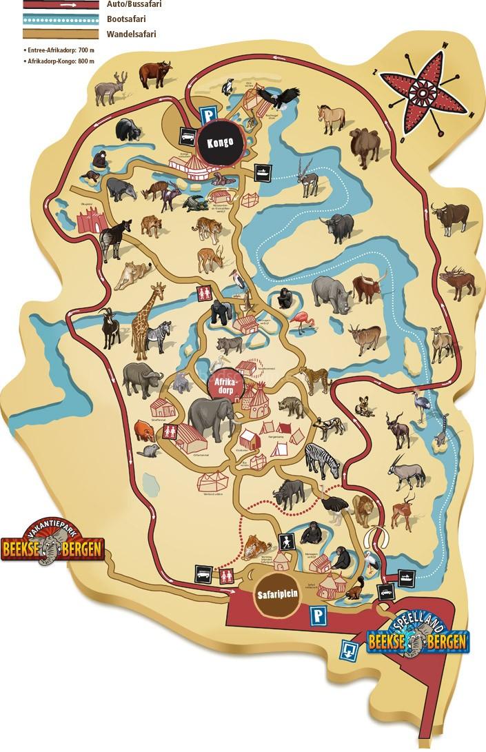 Plattegrond Beekse Bergen., dagje safari