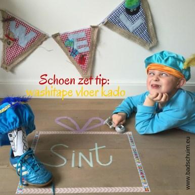 Schoen zet tip washitape vloer kado I DIY stappenplan I gemaakt door creatief lifestyle blog www.badschuim.eu