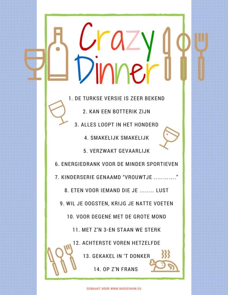 Crazy Dinner menu de omschrijvingen - gemaakt door het creatief lifestyle blog www.badschuim.eu