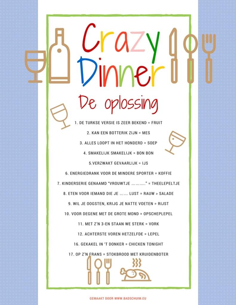 Crazy Dinner menu de oplossing - gemaakt door het creatief lifestyle blog www.badschuim.eu