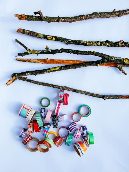 Decoratie takken met masking tape - Lente DIY
