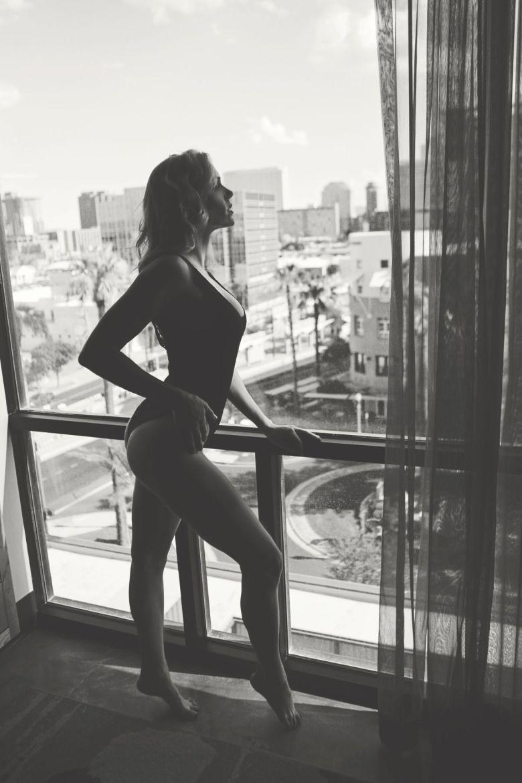 hotel room window pose