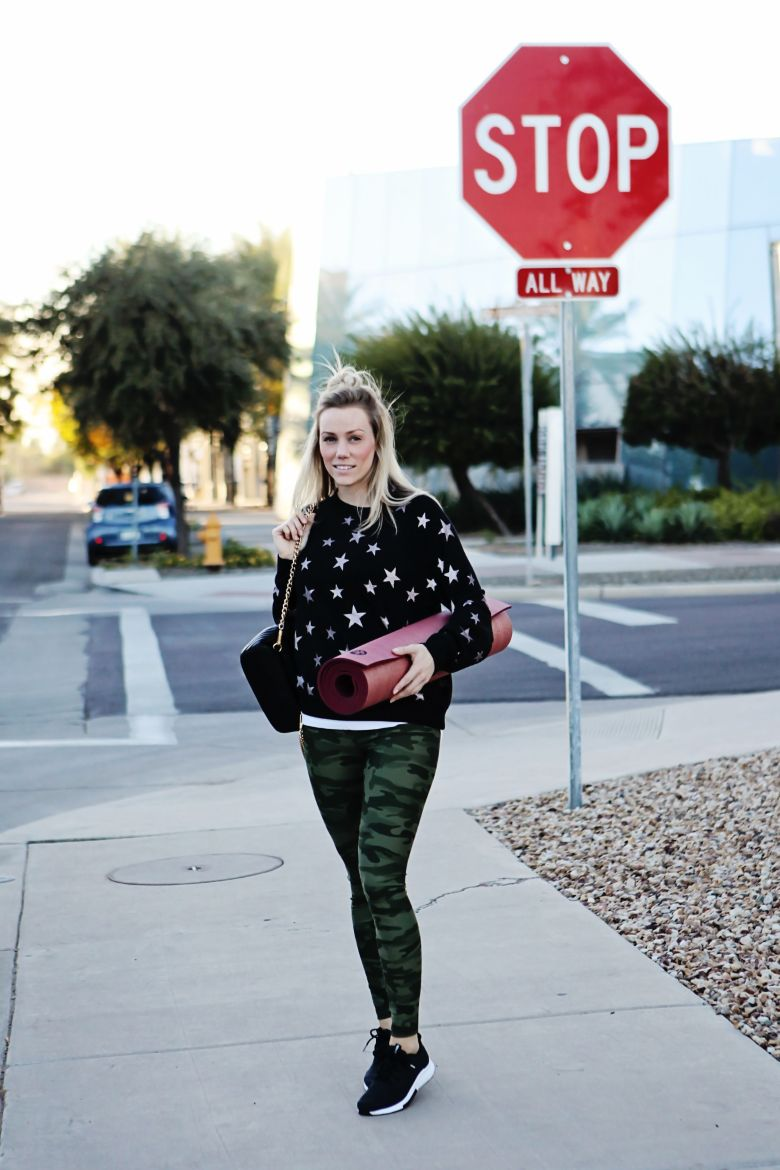 rose gold and camo outfit yoga