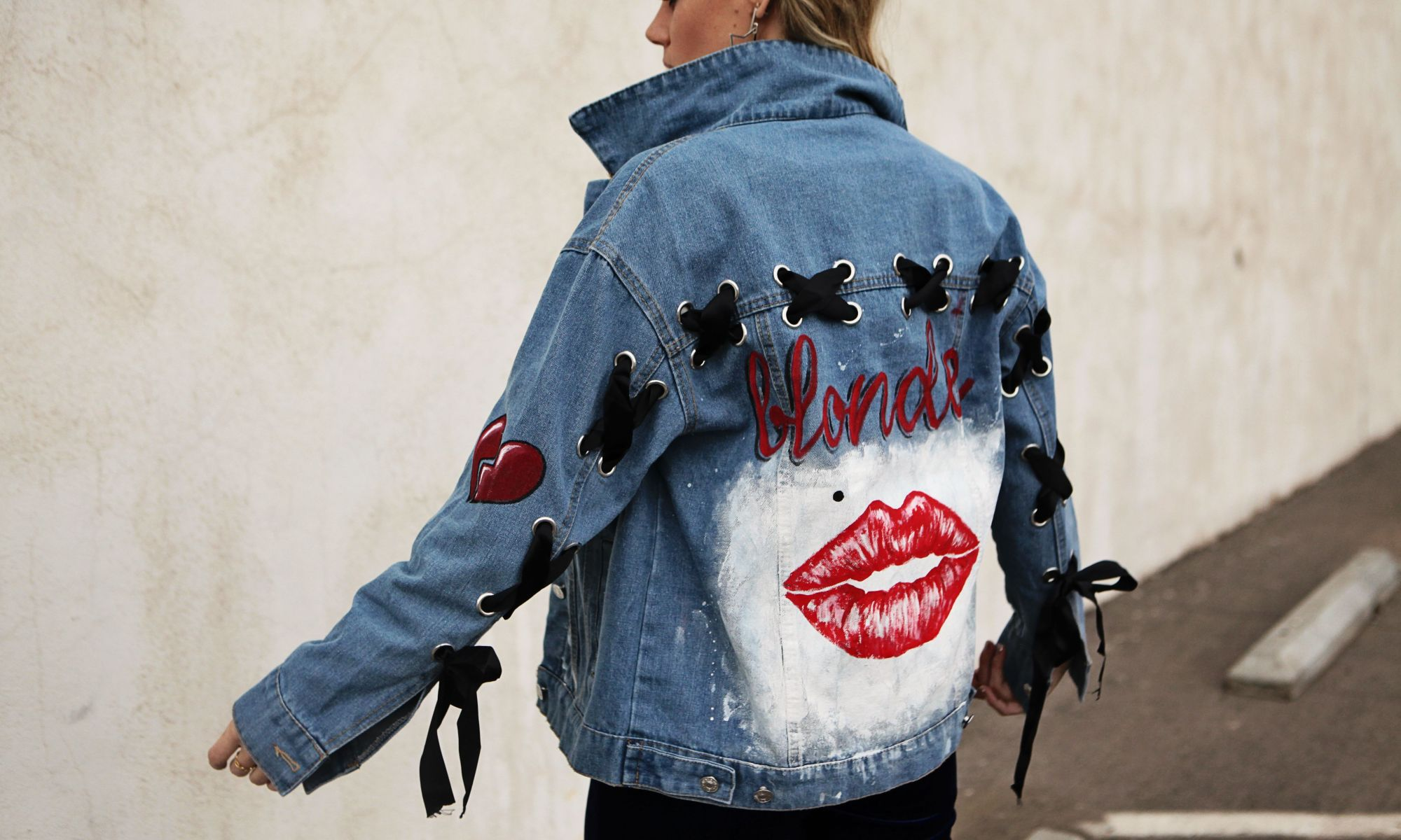 lace up denim jacket